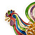 Multicoloured Enamel Diamante 'Rooster' Brooch In Gold Plating - 6cm Length - view 5