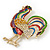 Multicoloured Enamel Diamante 'Rooster' Brooch In Gold Plating - 6cm Length - view 7