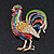 Multicoloured Enamel Diamante 'Rooster' Brooch In Gold Plating - 6cm Length - view 6