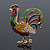 Multicoloured Enamel Diamante 'Rooster' Brooch In Gold Plating - 6cm Length - view 2
