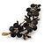 Swarovski Crystal Floral Brooch (Antique Gold & Black) - 5.5cm Length