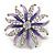 Pale Lavender/ Violet Enamel Diamante 'Flower' Brooch In Silver Plating - 4.5cm Diameter
