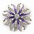 Pale Lavender/ Violet Enamel Diamante 'Flower' Brooch In Silver Plating - 4.5cm Diameter - view 6
