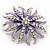 Pale Lavender/ Violet Enamel Diamante 'Flower' Brooch In Silver Plating - 4.5cm Diameter - view 3
