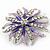 Pale Lavender/ Violet Enamel Diamante 'Flower' Brooch In Silver Plating - 4.5cm Diameter - view 4