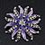 Pale Lavender/ Violet Enamel Diamante 'Flower' Brooch In Silver Plating - 4.5cm Diameter - view 2
