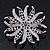 Pale Lavender/ Violet Enamel Diamante 'Flower' Brooch In Silver Plating - 4.5cm Diameter - view 5