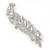 Large Swarovski Crystal 'Feather With Bow' Brooch In Rhodium Plating - 9cm Length