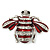 Cute Clear Crystal Burgundy Enamel 'Bee' Brooch In Rhodium Plating - 5cm Width