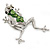 Queen Frog Green Enamel Crystal Brooch In Rhodium Plating - 5cm Length - view 5