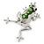 Queen Frog Green Enamel Crystal Brooch In Rhodium Plating - 5cm Length - view 2