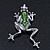 Queen Frog Green Enamel Crystal Brooch In Rhodium Plating - 5cm Length - view 3