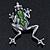 Queen Frog Green Enamel Crystal Brooch In Rhodium Plating - 5cm Length - view 7