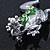 Queen Frog Green Enamel Crystal Brooch In Rhodium Plating - 5cm Length - view 4