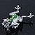 Queen Frog Green Enamel Crystal Brooch In Rhodium Plating - 5cm Length - view 8