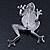 Queen Frog Green Enamel Crystal Brooch In Rhodium Plating - 5cm Length - view 6