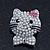 Cute Simulated Pearl Bead 'Cat With Pink Crystal Bow' Brooch In Rhodium Plating - 25mm Length - view 2