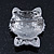 Cute Simulated Pearl Bead 'Cat With Pink Crystal Bow' Brooch In Rhodium Plating - 25mm Length - view 3