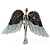 Flying Angel Grey Diamante Brooch In Rhodium Plating - 50mm Width - view 7