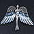 Flying Angel Grey Diamante Brooch In Rhodium Plating - 50mm Width - view 6