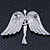 Flying Angel Grey Diamante Brooch In Rhodium Plating - 50mm Width - view 4