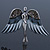 Flying Angel Grey Diamante Brooch In Rhodium Plating - 50mm Width - view 5