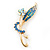 Classic AB/ Blue/ Teal Daisy Flower Brooch In Gold Plating - 65mm Length - view 2
