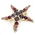 Purple/Pink/ Clear Crystal 'Starfish' Brooch In Gold Plating - 48mm Width - view 4