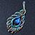 Vintage Blue/Teal Swarovski Crystal 'Peacock Feather' Brooch In Burn Gold - 8cm Length - view 6