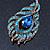 Vintage Blue/Teal Swarovski Crystal 'Peacock Feather' Brooch In Burn Gold - 8cm Length - view 7