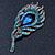 Vintage Blue/Teal Swarovski Crystal 'Peacock Feather' Brooch In Burn Gold - 8cm Length - view 2
