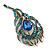 Vintage Blue/Teal Swarovski Crystal 'Peacock Feather' Brooch In Burn Gold - 8cm Length - view 8