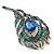 Vintage Blue/Teal Swarovski Crystal 'Peacock Feather' Brooch In Burn Gold - 8cm Length - view 3