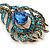 Vintage Blue/Teal Swarovski Crystal 'Peacock Feather' Brooch In Burn Gold - 8cm Length - view 4