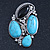 Vintage Asymmetrical Turquoise Stone, Crystal Brooch/ Pendant In Antique Silver Metal - 65mm Length - view 2