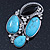 Vintage Asymmetrical Turquoise Stone, Crystal Brooch/ Pendant In Antique Silver Metal - 65mm Length - view 3