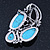 Vintage Asymmetrical Turquoise Stone, Crystal Brooch/ Pendant In Antique Silver Metal - 65mm Length - view 4
