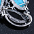 Vintage Asymmetrical Turquoise Stone, Crystal Brooch/ Pendant In Antique Silver Metal - 65mm Length - view 5