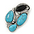 Vintage Asymmetrical Turquoise Stone, Crystal Brooch/ Pendant In Antique Silver Metal - 65mm Length - view 6