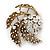 Vintage Diamante 'Whirlwind' Brooch In Burn Gold - 7cm Width