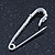 Small Sapphire Blue Coloured Crystal Scarf Pin Brooch In Rhodium Plating - 40mm Width - view 4