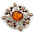 Vintage Filigree Amber Coloured Crystal Brooch In Silver Plating - 53mm Width - view 3