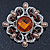 Vintage Filigree Amber Coloured Crystal Brooch In Silver Plating - 53mm Width - view 2