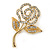 Small Classic Swarovski Crystal Open Rose Flower Brooch In Gold Plating - 40mm Across