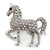 Small Rhodium Plated Pave Set Clear Crystal 'Horse' Brooch - 35mm Across - view 7