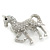 Small Rhodium Plated Pave Set Clear Crystal 'Horse' Brooch - 35mm Across - view 6