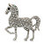 Small Rhodium Plated Pave Set Clear Crystal 'Horse' Brooch - 35mm Across - view 2