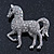 Small Rhodium Plated Pave Set Clear Crystal 'Horse' Brooch - 35mm Across - view 3