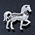 Small Rhodium Plated Pave Set Clear Crystal 'Horse' Brooch - 35mm Across - view 4