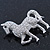 Small Rhodium Plated Pave Set Clear Crystal 'Horse' Brooch - 35mm Across - view 5